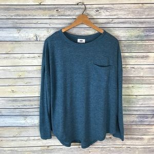 Old Navy Blue Long Sleeve Pocket Tee